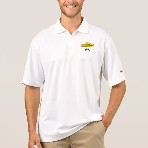 Mustache and Sombrero Men's Nike Dri-FIT Pique Polo Shirt