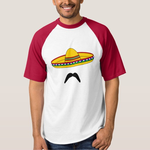 Mustache and Sombrero Men's Raglan Baseball T-Shirt