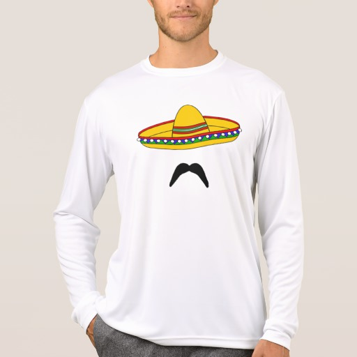 Mustache and Sombrero Men's Sport-Tek Competitor Long Sleeve T-Shirt