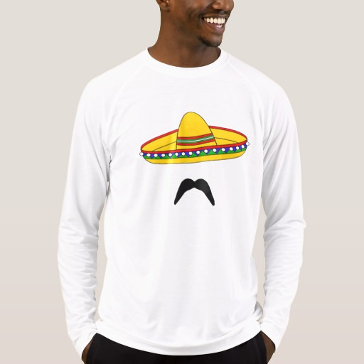 Mustache and Sombrero Men's Sport-Tek Fitted Performance Long Sleeve T-Shirt