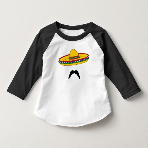 Mustache and Sombrero Toddler American Apparel 3/4 Sleeve Raglan T-Shirt