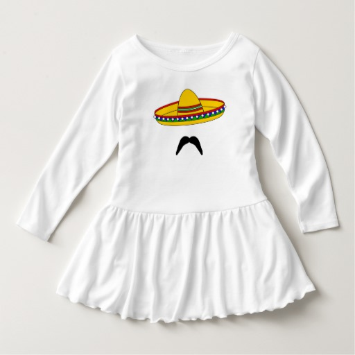 Mustache and Sombrero Toddler Ruffle Dress