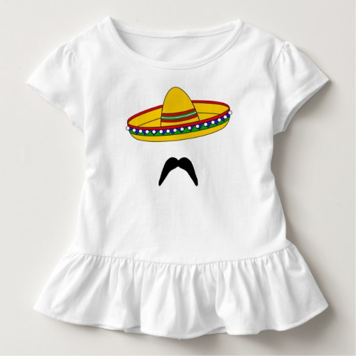 Mustache and Sombrero Toddler Ruffle Tee