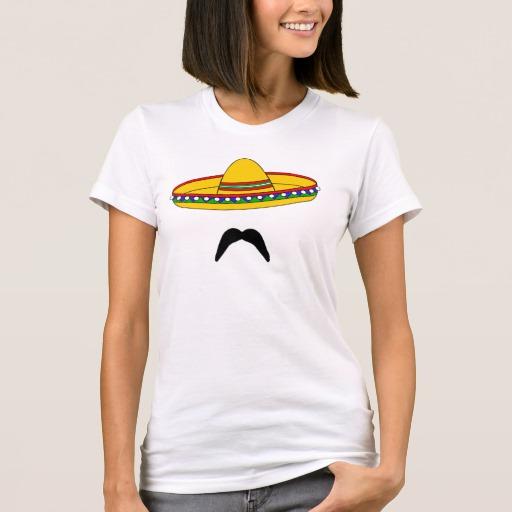 Mustache and Sombrero Women's American Apparel Fine Jersey T-Shirt