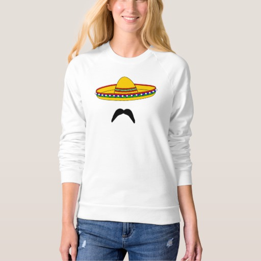Mustache and Sombrero Women's American Apparel Raglan Sweatshirt