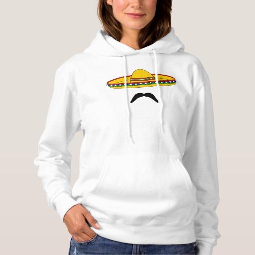Mustache and Sombrero Women's Basic Hooded Sweatshirt