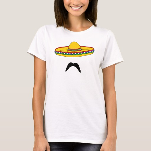 Mustache and Sombrero Women's Basic T-Shirt