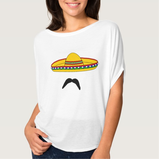 Mustache and Sombrero Women's Bella+Canvas Flowy Circle Top