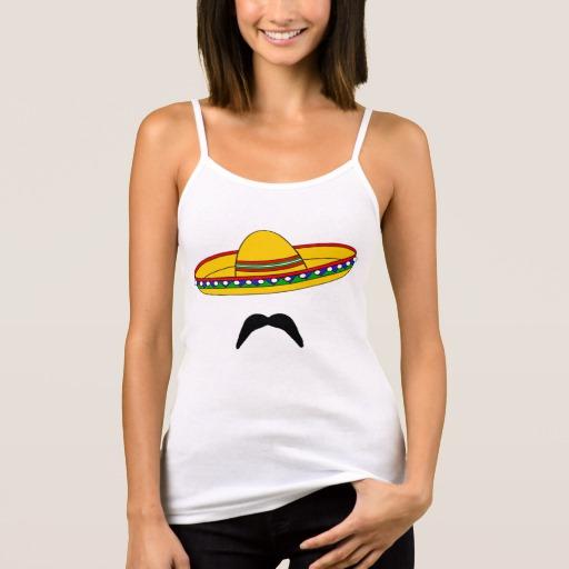 Mustache and Sombrero Women's Bella+Canvas Spaghetti Strap Tank Top