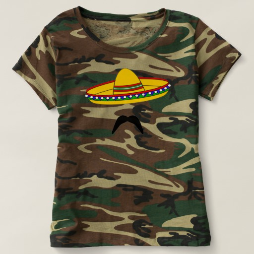 Mustache and Sombrero Women's Camouflage T-Shirt