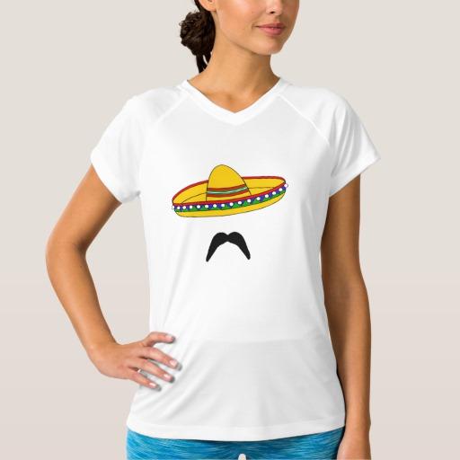 Mustache and Sombrero Women's Champion Double-Dry V-Neck T-Shirt