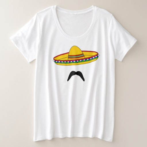 Mustache and Sombrero Women's Plus-Size Basic T-Shirt