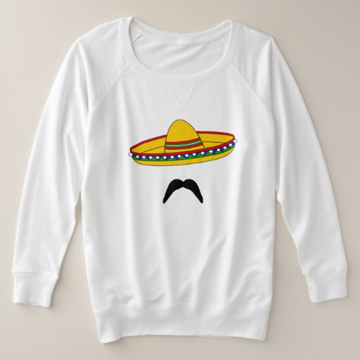 Mustache and Sombrero Women's Plus-Size French Terry Sweatshirt