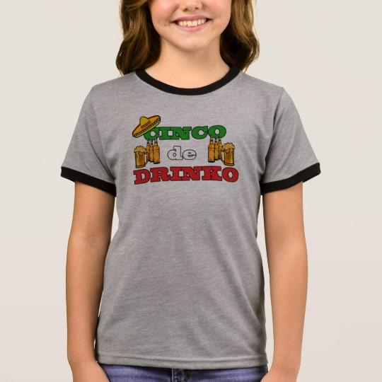Cinco de Drinko Girl's Ringer T-Shirt