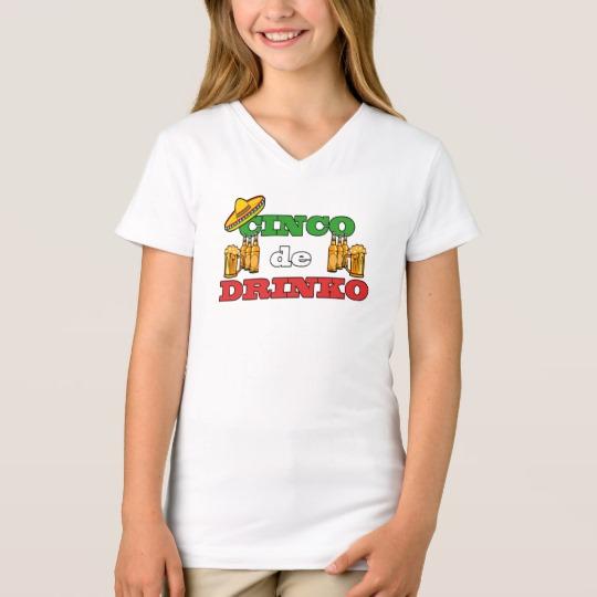 Cinco de Drinko Girls' Fine Jersey V-Neck T-Shirt