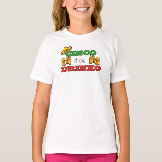 Cinco de Drinko Girls' Hanes TAGLESS® T-Shirt
