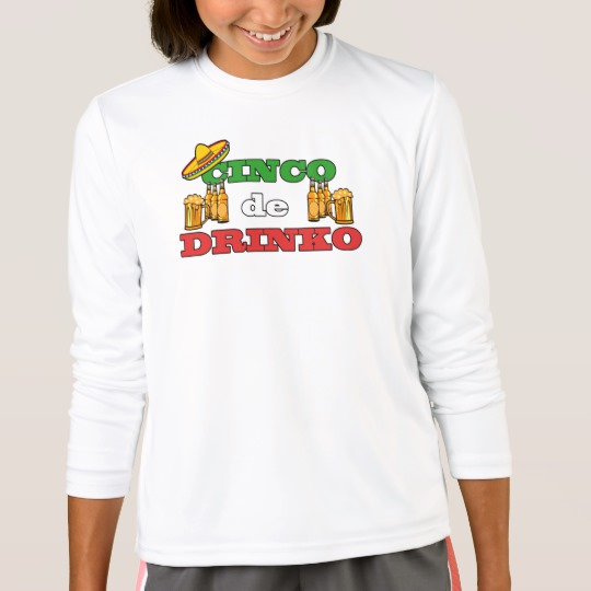 Cinco de Drinko Girls' Sport-Tek Competitor Long Sleeve T-Shirt