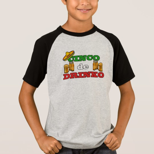 Cinco de Drinko Kids' Short Sleeve Raglan T-Shirt