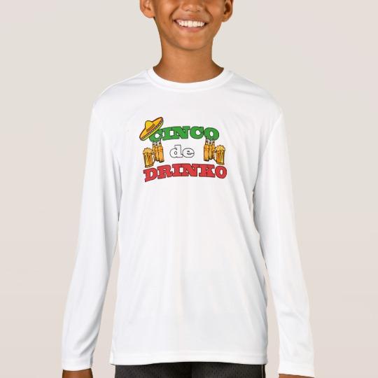 Cinco de Drinko Kids' Sport-Tek Competitor Long Sleeve T-Shirt