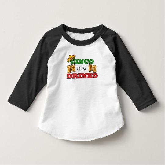 Cinco de Drinko Toddler American Apparel 3/4 Sleeve Raglan T-Shirt