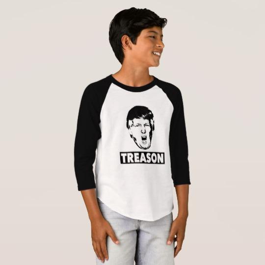 Trump Treason Boys' American Apparel 3/4 Sleeve Raglan T-Shirt