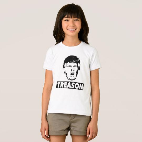 Trump Treason Girls' American Apparel Fine Jersey T-Shirt