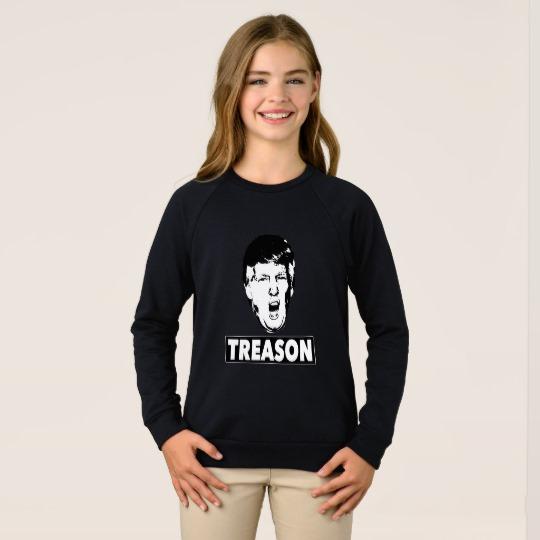 Trump Treason Girls' American Apparel Raglan Sweatshirt