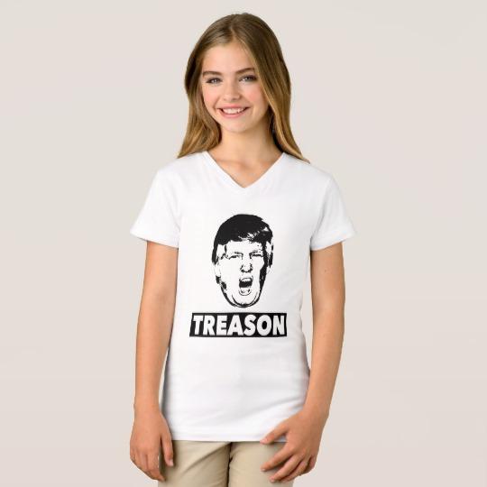 Trump Treason Girls' Fine Jersey V-Neck T-Shirt