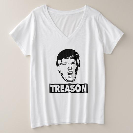 Trump Treason Women's Plus-Size V-Neck T-Shirt