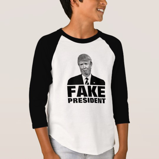 Donald Trump Fake President Boys' American Apparel 3/4 Sleeve Raglan T-Shirt