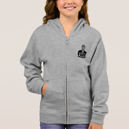 Donald Trump Fake President Girl's Basic Zip Hoodie