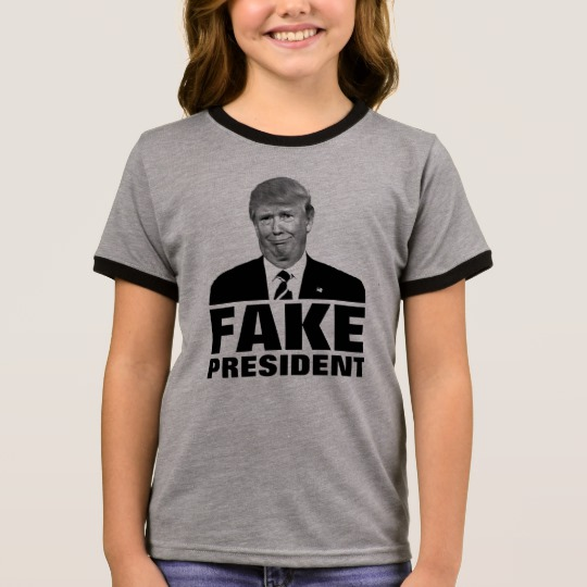 Donald Trump Fake President Girl's Ringer T-Shirt