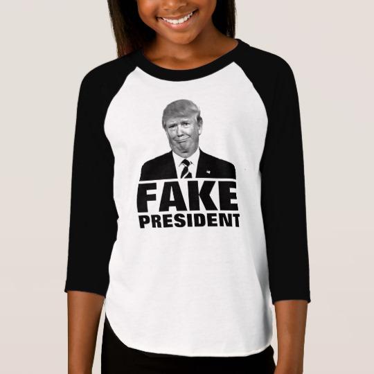 Donald Trump Fake President Girls' American Apparel 3/4 Sleeve Raglan T-Shirt