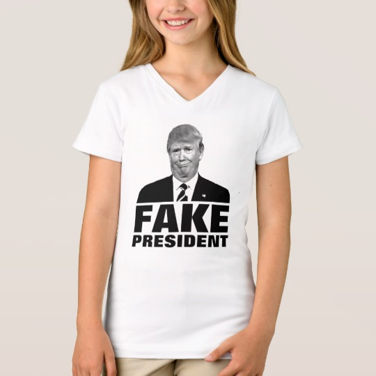 Donald Trump Fake President Girls' Fine Jersey V-Neck T-Shirt