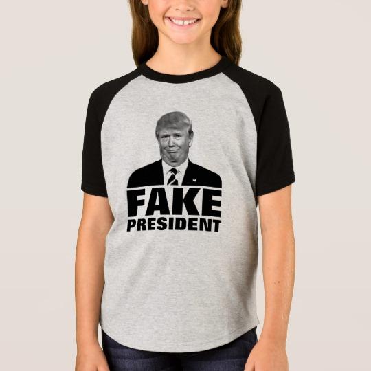 Donald Trump Fake President Girls' Short Sleeve Raglan T-Shirt