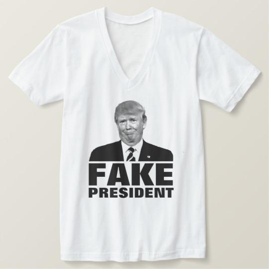 Donald Trump Fake President Men's American Apparel Fine Jersey V-neck T-Shirt
