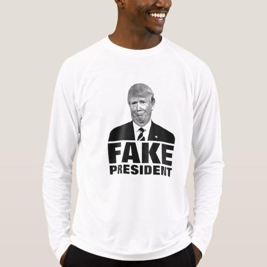 Donald Trump Fake President Men's Sport-Tek Fitted Performance Long Sleeve T-Shirt