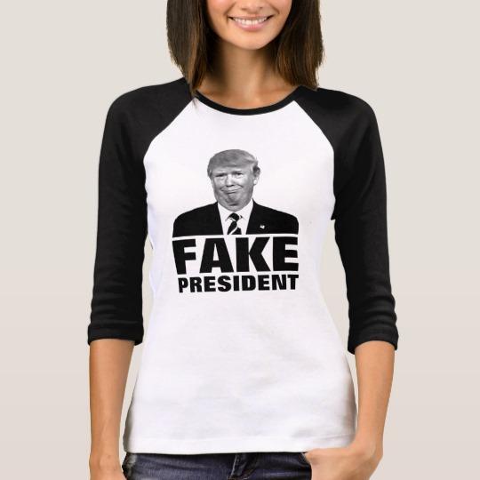 Donald Trump Fake President Women's Bella+Canvas 3/4 Sleeve Raglan T-Shirt