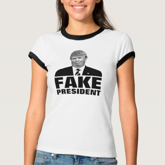 Donald Trump Fake President Women's Bella+Canvas Ringer T-Shirt