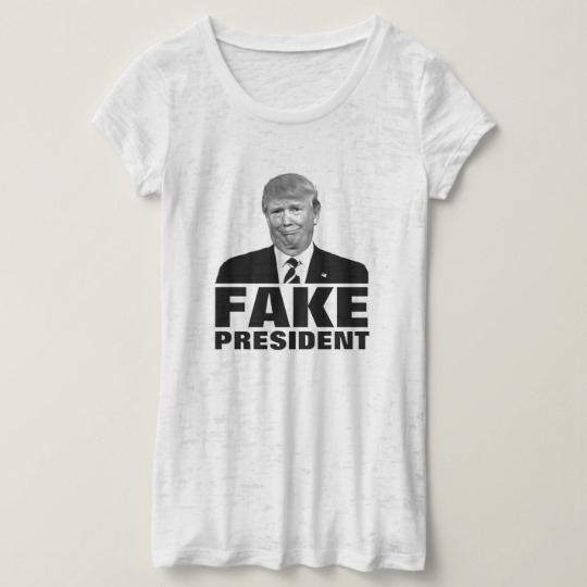 Donald Trump Fake President Women's Canvas Fitted Burnout T-Shirt