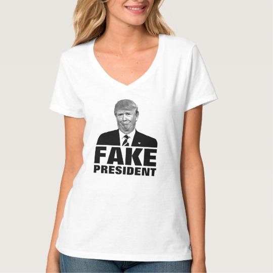 Donald Trump Fake President Women's Hanes Nano V-Neck T-Shirt