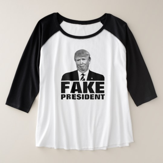 Donald Trump Fake President Women's Plus-Size 3/4 Sleeve Raglan T-Shirt