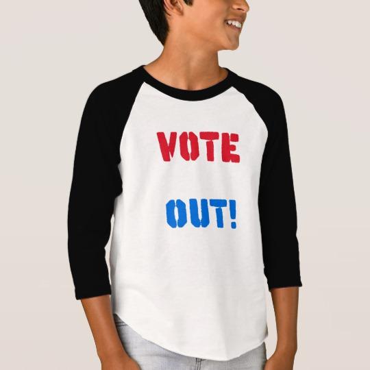 Vote em Out Boys' American Apparel 3/4 Sleeve Raglan T-Shirt