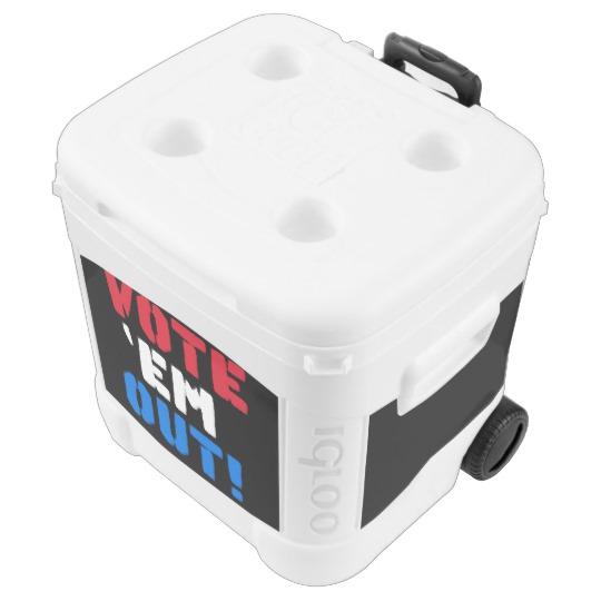 Vote em Out Igloo 60 quart Roller Cooler