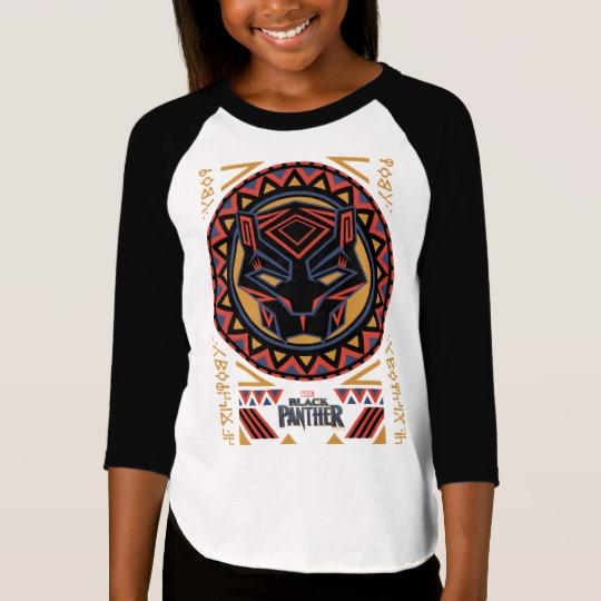 Black Panther Tribal Head Girls' American Apparel 3/4 Sleeve Raglan T-Shirt