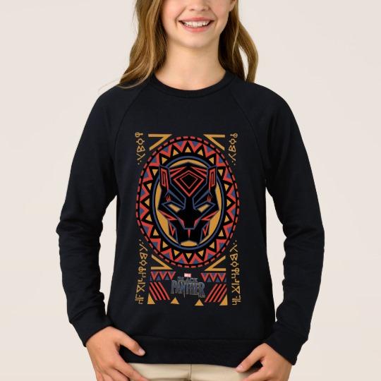 Black Panther Tribal Head Girls' American Apparel Raglan Sweatshirt