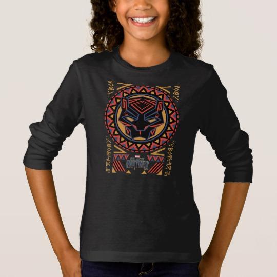 Black Panther Tribal Head Girls' Basic Long Sleeve T-Shirt