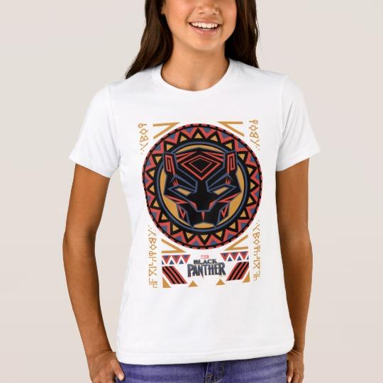 Black Panther Tribal Head Girls' Bella+Canvas Crew T-Shirt