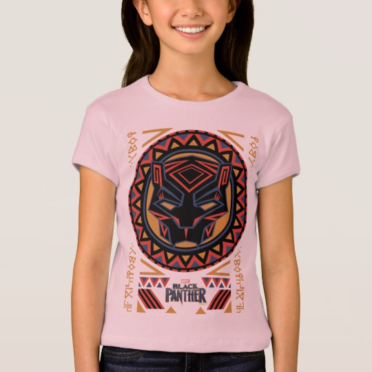 Black Panther Tribal Head Girls' Bella+Canvas Fitted Babydoll T-Shirt
