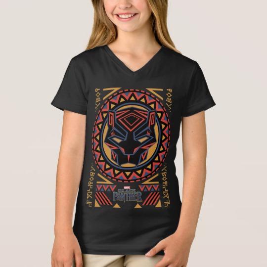 Black Panther Tribal Head Girls' Fine Jersey V-Neck T-Shirt